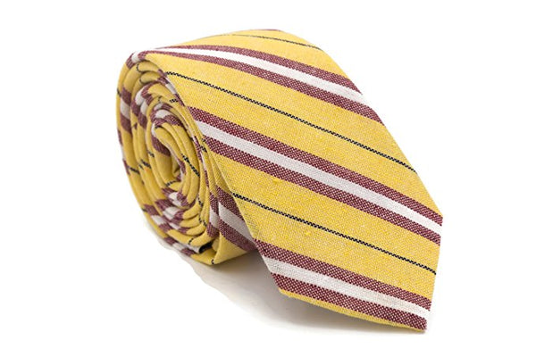 Yellow burgundy Stripe Cotton Necktie