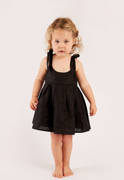Black - Strappy Dress + Frill Bloomers