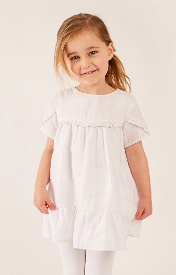 White - Short Sleeve Ruffle Top