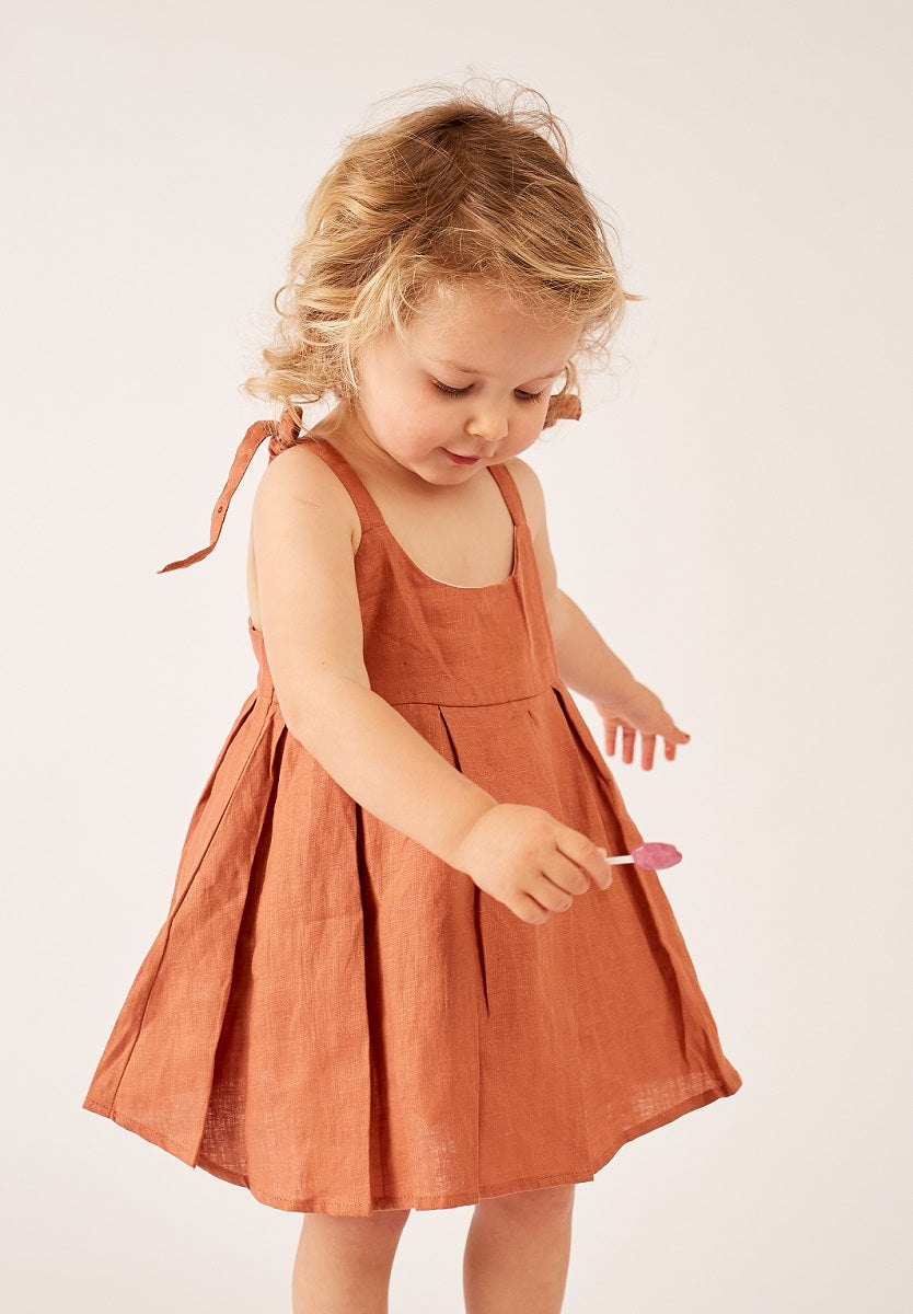 Rust - Strappy Dress + Frill Bloomers
