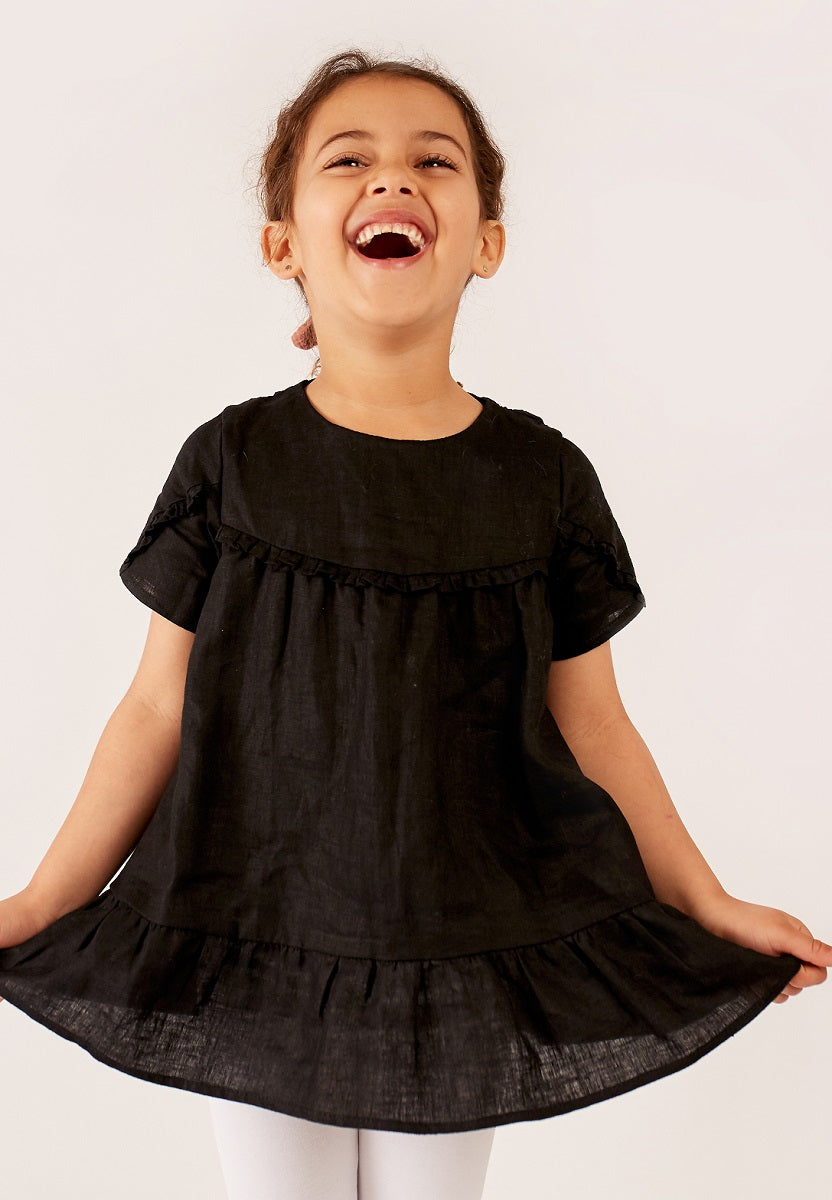 Black - Short Sleeve Ruffle Top
