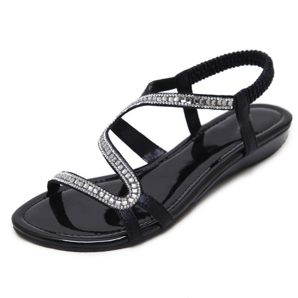 HEE GRAND Gold Gladiator Wedges Sandals Summer Faux Crystal Glitter Casual  Platform Shoes Woman Slip On 938365d6a2a9