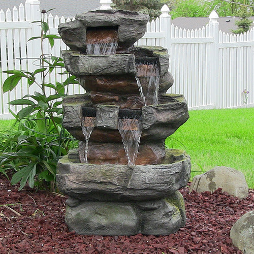 24 Inch Tiered Stone Waterfall with LED Lights