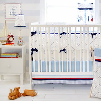 Navy Blue and Red Nautical Nursery Set First Mate Crib Collection