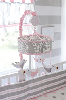 Pink and Gray Baby Mobile - Olivia Rose Crib Collection