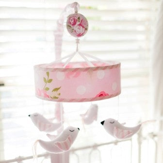 Pink Floral Baby Mobile - Rosebud Lane Crib Collection