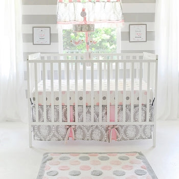 Pink and Gray Baby Bedding - Olivia Rose Crib Collection