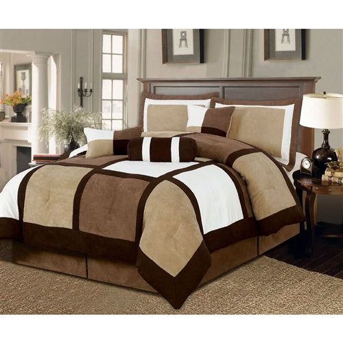 Full Size 7 Piece Bed in a Bag Patchwork Comforter Set in Brown and White