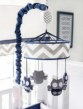 Navy and Gray Owl Crib Mobile - Out of the Blue Baby Bedding Collection