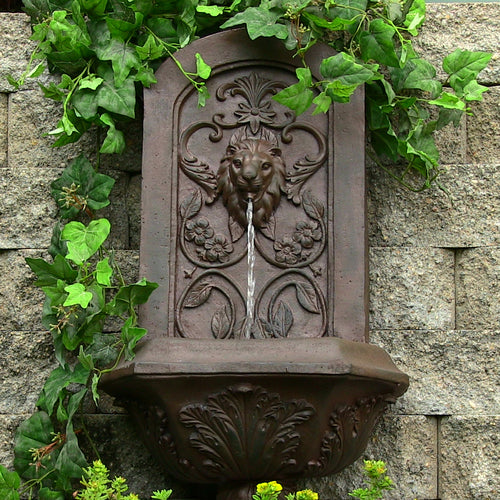 Decorative Lion Wall Fountain in Weathered Iron