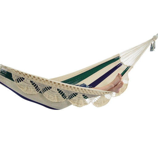 Nicaraguan Hammock - Deluxe Blue, White, and Green Stripes