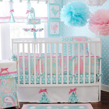 Paisley Baby Bedding - Pixie in Aqua Collection