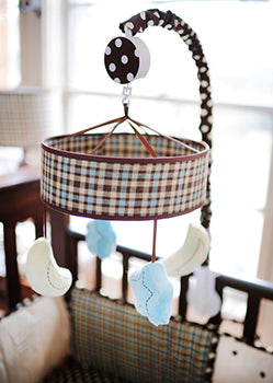 Star and Moon Crib Mobile - Mad About Plaid in Blue Collection
