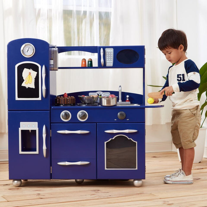 Teamson Kids Retro Play Kitchen Little Chef Westchester - Navy Blue