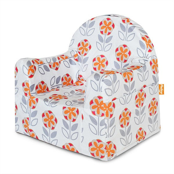 Little Reader Chair Flowers - White and Orange