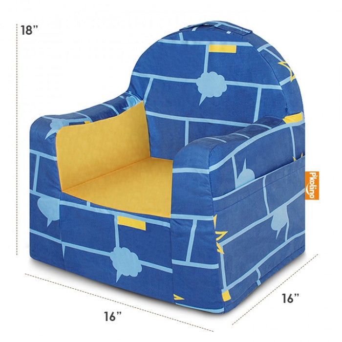 P'kolino Little Reader Chair Comic Book Blue and Yellow Dimensions