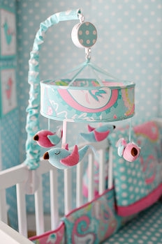 Pink and Aqua Bird Crib Mobile - Pixie Baby in Aqua Crib Collection