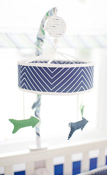 Navy Chevron Baby Mobile - Follow Your Arrow in Navy Crib Collection