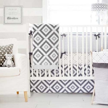 Gray Crib Bedding Imagine Crib Collection - 4 Piece with Bumper