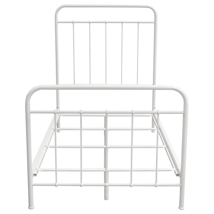 Bailey White Powder Coated Metal Twin Bed
