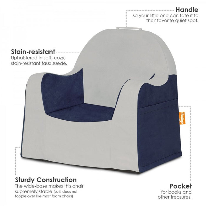 Little Reader Chair Light Grey and Navy Blue Information
