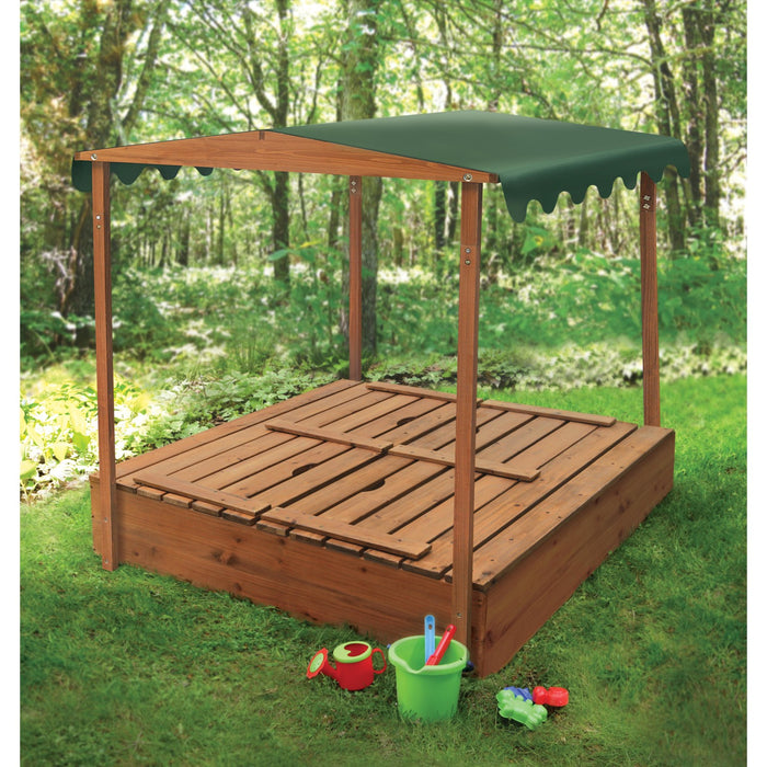 Badger Basket Covered Convertible Cedar Sandbox with Canopy and Two Bench Seats - Natural