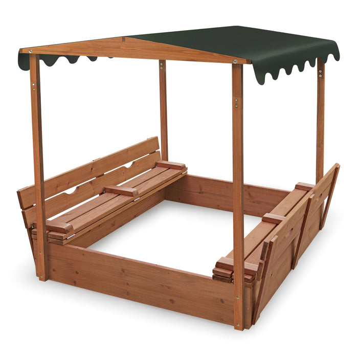 Covered Convertible Cedar Sandbox with Canopy and Two Bench Seats - Natural