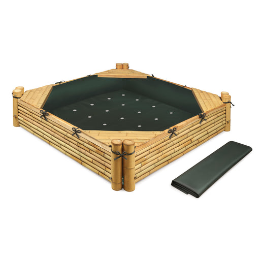 Bamboo Beach Sandbox with Fabric Liner and Cover
