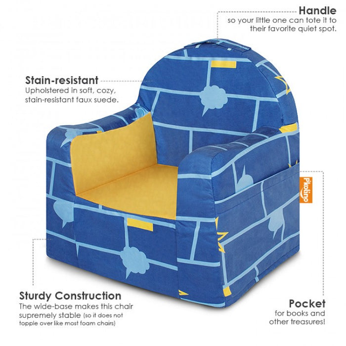 Little Reader Chair Comic Book Blue and Yellow Information