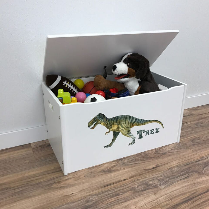 Little Prints T-Rex Toy Storage Box - White