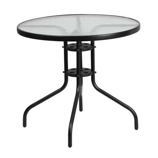 Round Tempered Glass Metal Table 31.5""