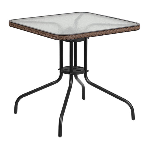Square Tempered Glass Metal Table with Dark Brown Rattan Edging 28""