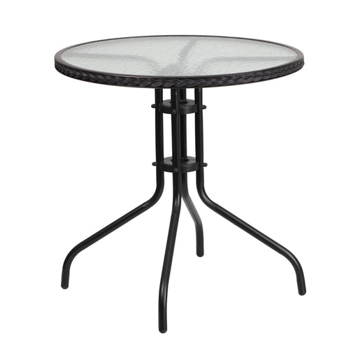 Round Tempered Glass Metal Table with Black Rattan Edging 28""