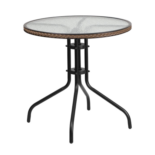 Round Tempered Glass Metal Table with Dark Brown Rattan Edging 28""