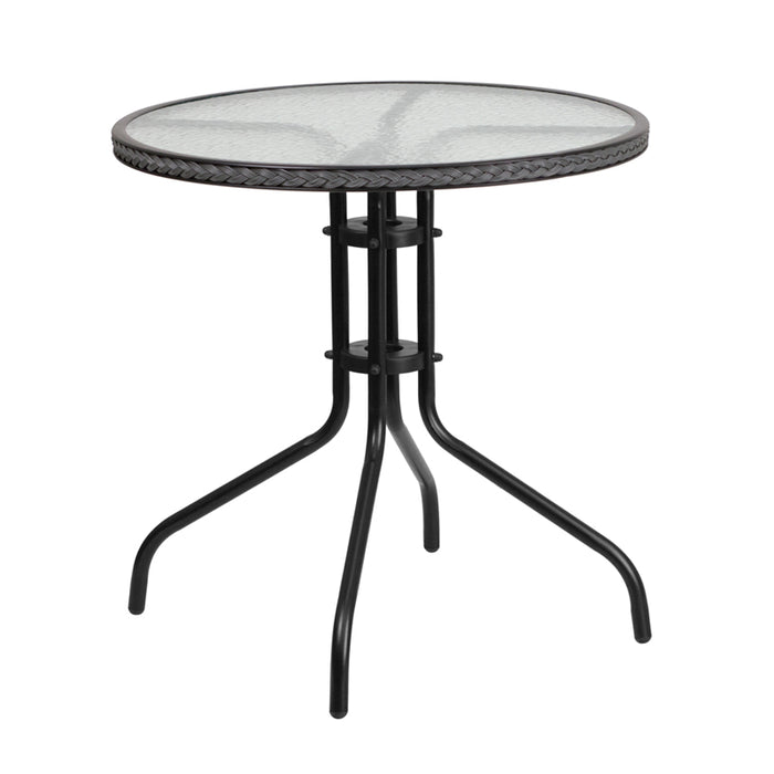 Round Tempered Glass Metal Table with Gray Rattan Edging 28""