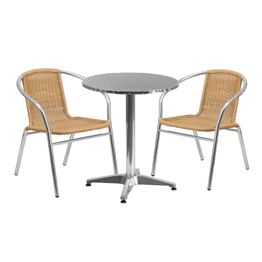 Round Aluminum Indoor - Outdoor Table Set with 2 Beige Rattan Chairs 23.5""