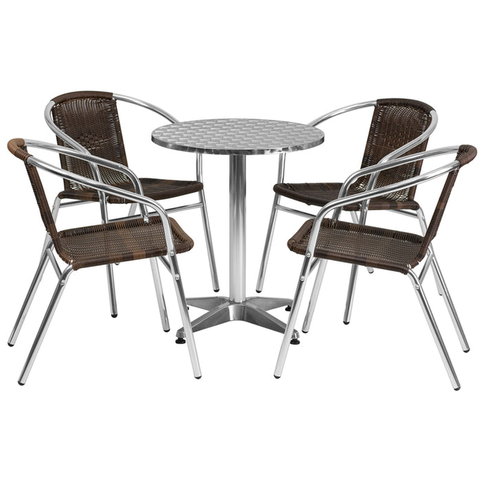 Round Aluminum Indoor - Outdoor Table Set with 4 Dark Brown Rattan Chairs 23.5""