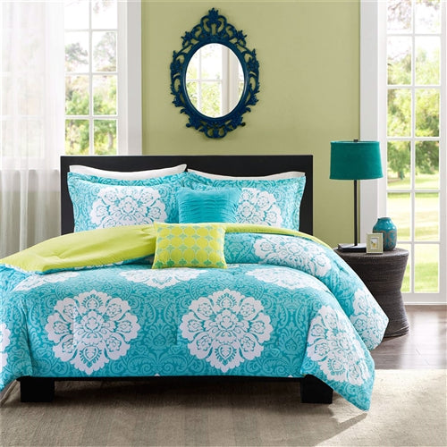 Full Size 5 Piece Comforter Set in Teal Blue White Damask Pattern with Green Reverse