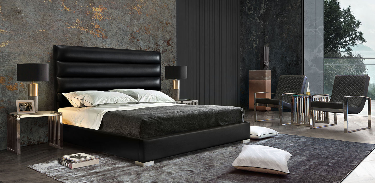 Bardot Channel Tufted Eastern King Bed in Black Leatherette