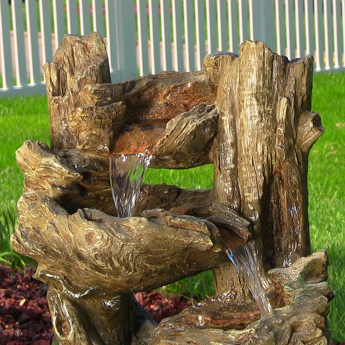 SunnyDaze Decor 5 Tiered Woodland Fountain with LED Lights