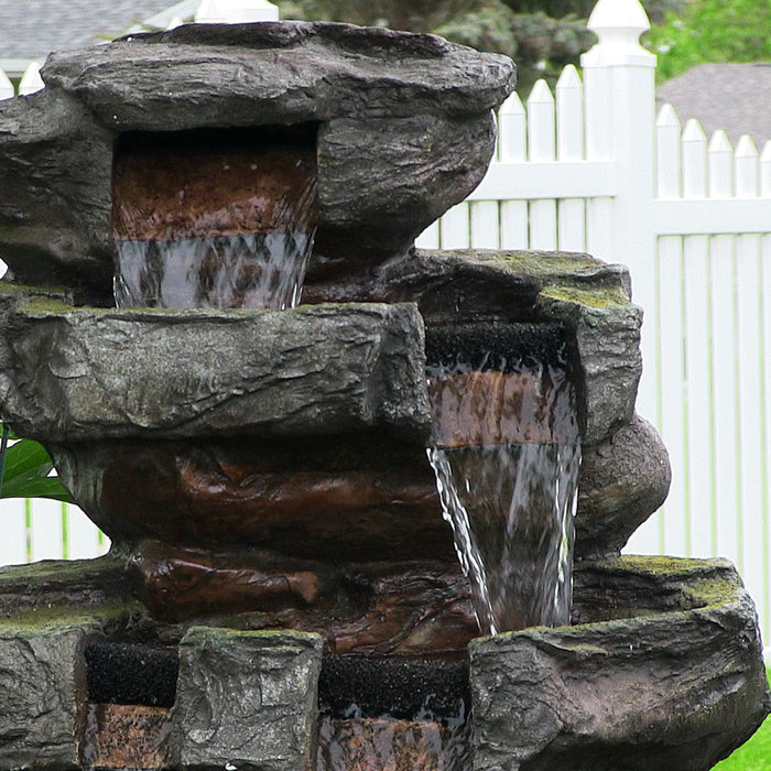 SunnyDaze Decor 24 Inch Tiered Stone Waterfall with LED Lights