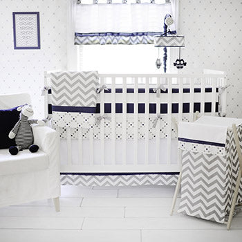 Navy and Blue Crib Bedding - Out of the Blue Baby Bedding Collection