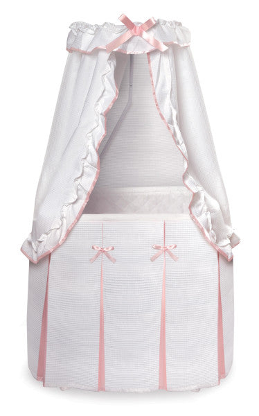 Majesty Baby Bassinet with Canopy - White/Pink