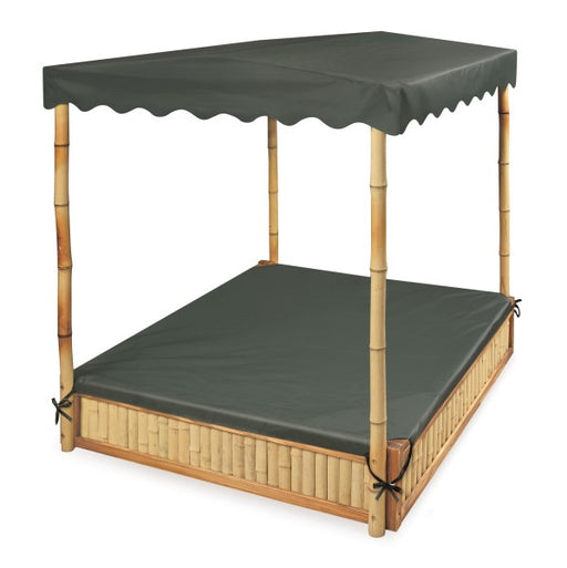 Tropical Fun Bamboo Sandbox with Canopy and Cover - Natural/Green