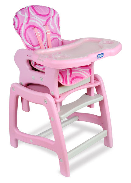 Envee Baby High Chair with Playtable Conversion - Pink/White
