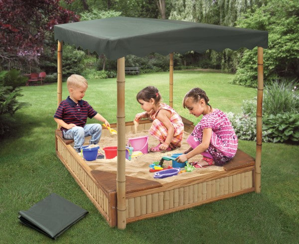 Badger Basket Tropical Fun Bamboo Sandbox with Canopy and Cover