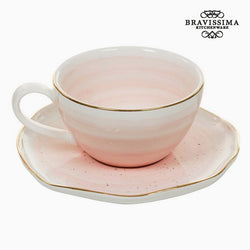 Taza con Plato Porcelana Rosa - Colección Queen Kitchen by Bravissima Kitchen