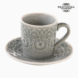 Taza con Plato Porcelana Gris by Bravissima Kitchen