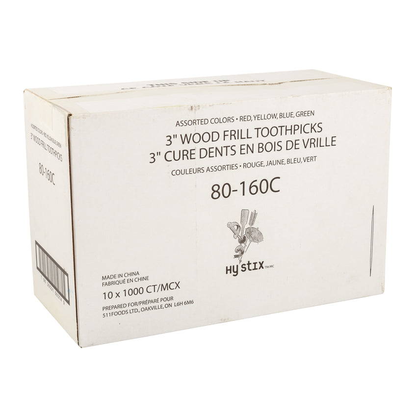 "Toothpick Frill 3"", Case 1000x10"