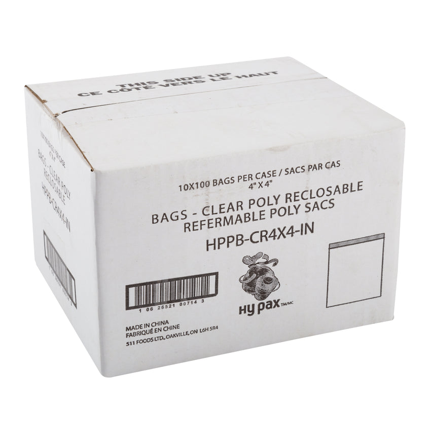 "Bag Reclosable Poly 4x4"" 2ml, Case 1000"